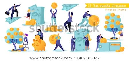 Trabalho em equipe dólar moeda conjunto pessoas olhando Foto stock © robuart
