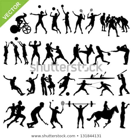 Hokey spor oyuncu siluetleri ayrıntılı siluet Stok fotoğraf © Krisdog