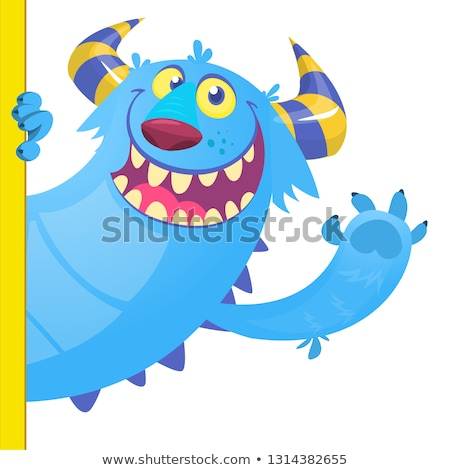 Funny Horned Blue Monster Cartoon Character Holding A Blank Sign Stock photo © hittoon