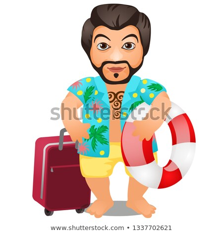 Animated male tourist with a suitcase and a lifeline isolated on white background. Vector cartoon cl Stock photo © Lady-Luck