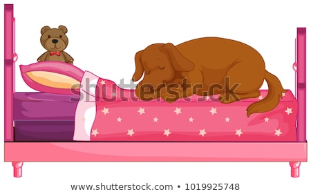 Dog slepping on pink bed  Stock photo © colematt