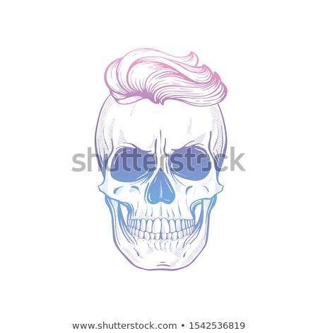 Zły czaszki fryzura wąsy kwiaty wstążka Zdjęcia stock © netkov1