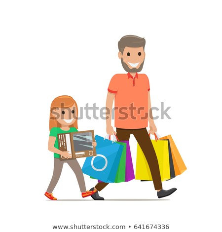 Shopping Young Women Carrying Lots of Bags Vector Stock photo © robuart