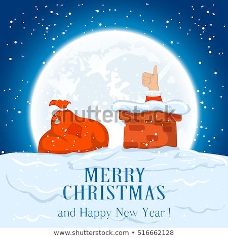 Vrolijk christmas opschrift schoorsteen vector Stockfoto © robuart