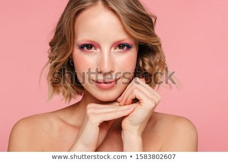 Foto stock: Sorridente · jovem · topless · mulher · isolado