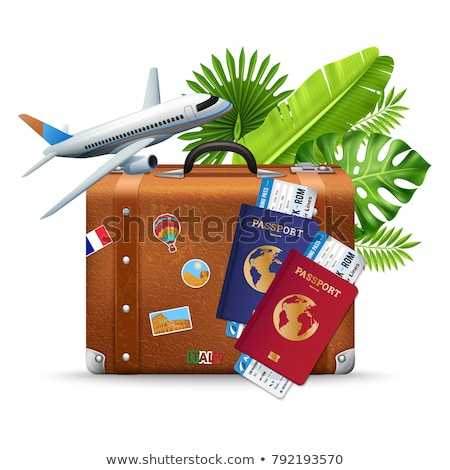 Retro leather suitcases, travel passport boarding pass Stock photo © LoopAll