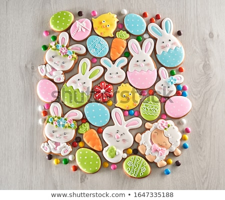 Easter cookie in shape of bunny and sheep Foto stock © furmanphoto