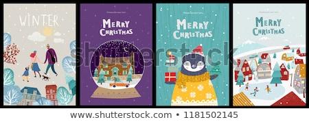 Happy New Year Greetig Cards, Penguins on Skates Stok fotoğraf © robuart