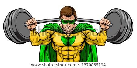 Superhero талисман большой штанга Сток-фото © Krisdog