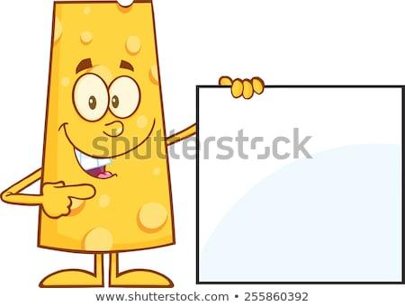 Vicces sajt rajzfilmfigura mutat üres tábla illusztráció Stock fotó © hittoon