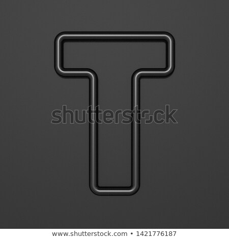 Stock photo: Black outline font Letter T 3D