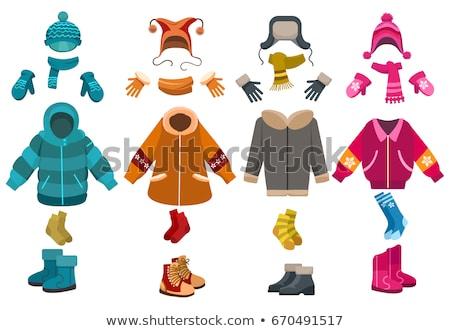 Set of warm winter clothes design Stock photo © netkov1