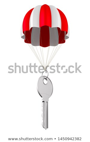 Metálico chave pára-quedas branco isolado 3D Foto stock © ISerg