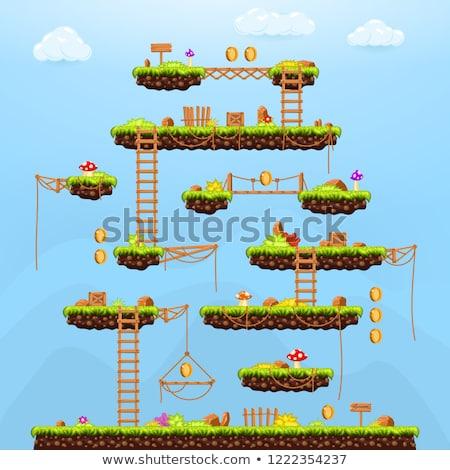Pixel Start Game, Green Location, Adventure Vector Stock photo © robuart