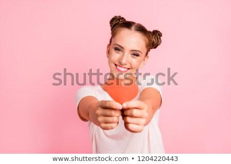 Valentin nap 14 divat modell lány izolált Stock fotó © serdechny