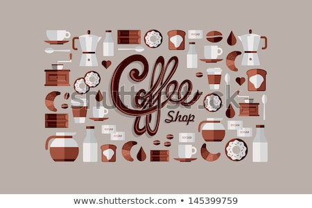 Foto stock: Brown Coffee And Breakfast Icons On A Beige Background Vector Il