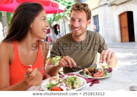 Couple in Cafe at Table Outdoors, Summer Terrace Stock photo © robuart