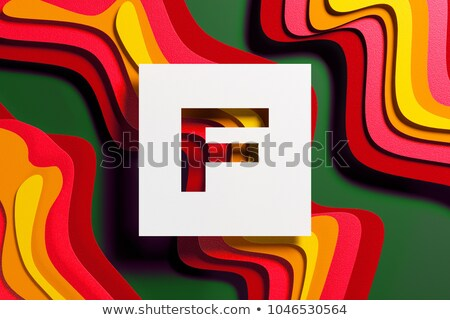 Yellow outlined font letter F 3D Stock photo © djmilic