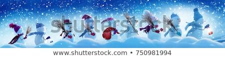 かわいい · 雪だるま · クリスマス · グリーティングカード · デザイン · 背景 - ストックフォト © liolle