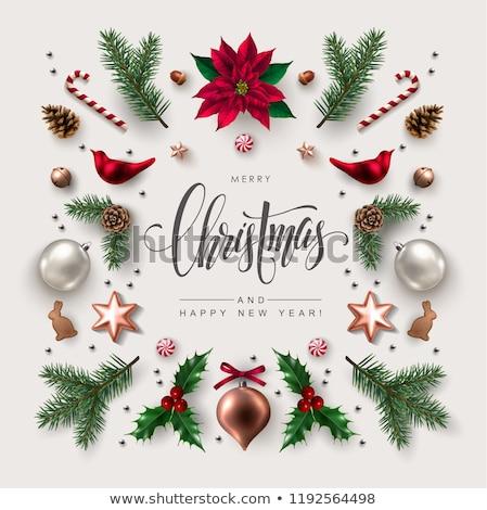 christmas card with decor and fir tree branch stock photo © karandaev