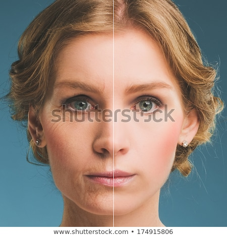 neck of a woman before and after botox. Young and old neck Stock photo © galitskaya