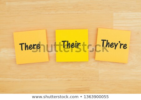 Gramática tres notas adhesivas colorido papel educación Foto stock © neirfy