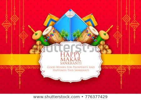 kite with spool of string for makar sankranti festival Stock photo © SArts