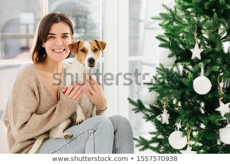 美しい ブルネット 女性 笑顔 楽しく 自由時間 ストックフォト © vkstudio