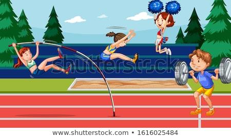 Jelenet sportolók útvonal mező események illusztráció Stock fotó © bluering
