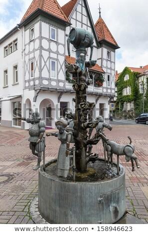 Szökőkút Németország tér város központ tél Stock fotó © borisb17