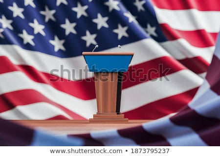 election in usa. microphone and flag usa. 3d illustration Stock photo © ISerg