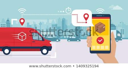 Parcel Location Phone Tracking Postal Transportation Company Icon Vector Illustration Stock photo © pikepicture