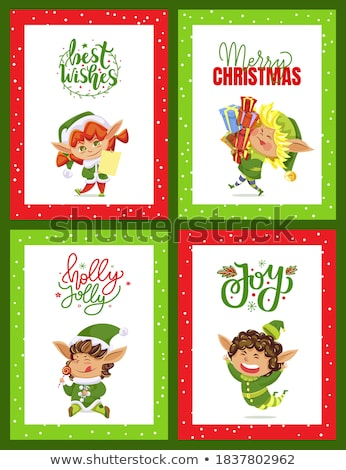 Best Wishes Greeting Card with Elves Xmas Holidays Stock photo © robuart