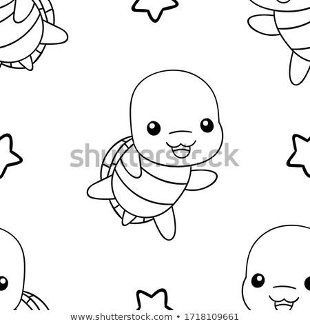 Cute naadloos vector patroon kawaii schildpad Stockfoto © Pravokrugulnik