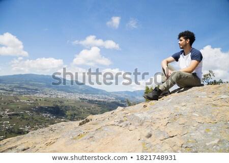 Koyu esmer adam üst dağ yürüyüş yakışıklı Stok fotoğraf © pedromonteiro