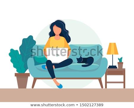работать из дома красочный дизайна стиль иллюстрация коронавирус Сток-фото © Decorwithme