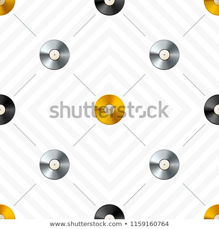 Retro seamless pattern with golden and platinum vinyl discs Stock photo © evgeny89