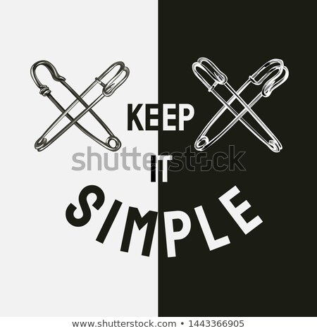 Vintage safety pin, simple black silhouette Stock photo © evgeny89