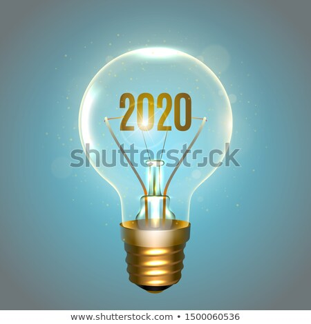 Realistic lamp with the inscription of 2020 year instead of the filament of incandescence, isolated  Stock photo © sanyal