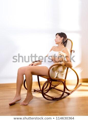 беременна сидят Swing мишка беременная женщина Сток-фото © galitskaya