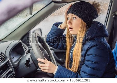 Femme voiture chutes de neige problèmes route fenêtre Photo stock © galitskaya
