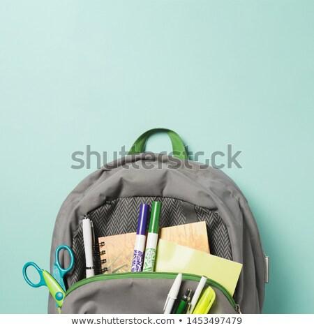 Rugzak schoolbenodigdheden papier school pen Stockfoto © goir
