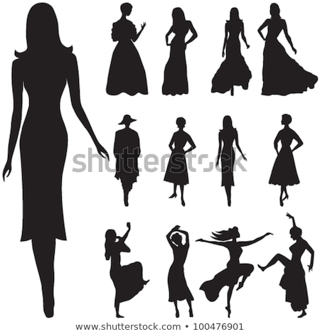 vector editable dancing silhouette group stock photo © m_pavlov
