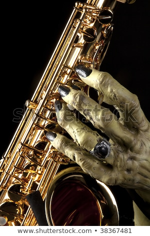halloween · saxophone · monstre · main · vacances · or - photo stock © mkm3