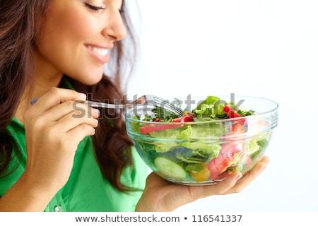 Gezonde jonge vrouw eten voedzaam voedsel gelukkig Stockfoto © tobkatrina