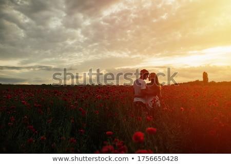 Pár mező virágok férfi természet tájkép Stock fotó © photography33