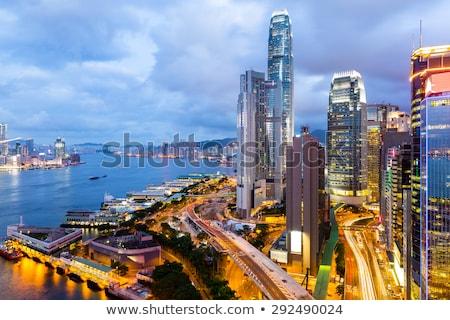 Hong Kong centro da cidade noite high-rise edifícios edifício Foto stock © kawing921