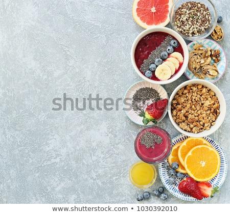 власти завтрак портативного компьютера апельсиновый сок чаши зерновых Сток-фото © danielgilbey