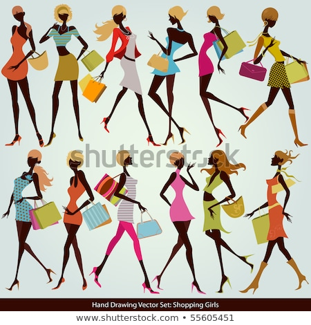 set shopping girls vector illustration stock photo © carodi