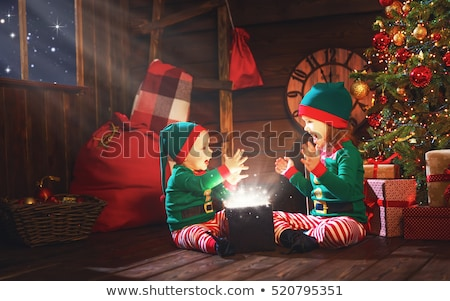 Helper meisje geschenkdoos kerstboom vrouw Stockfoto © dolgachov